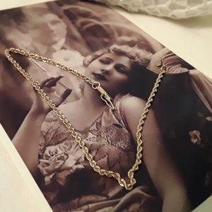 "Jewelry - 14KT YELLOW GOLD 9"" 2mm DIAMOND/CUT ROPE BRACELET"
